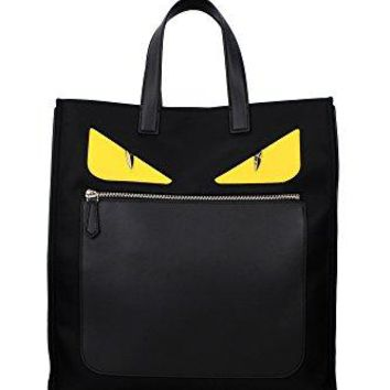 Fendi Men's 'Bag Bugs Eyes' Front-Zippered Nylon Tote with Leather Edges/Handle Black Yellow