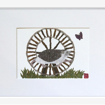 Hedgehog Spins Wheel Matted Print, Hand-Torn Newspaper Collage, Woodland Animal, Forest Friend Art, For 8 x 10 Frame