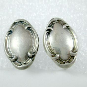 Antique or Vintage Sterling TOWLE Earrings Screw back Non-Pierced Sterling Silver Ovals NOT MONOGRAMMED Unpolished Patina'd Nice!