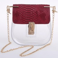 Women Composite Bags Chain Transparent Chain Bag and Snakeskin Print Clutch 2 Bags Set Fashion Shoulder Cross Body Bags