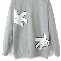 Cartoon Hand Print Long Sleeve Sweatshirt