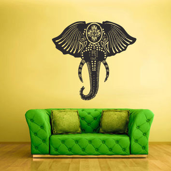 Wall Vinyl Sticker Decals Decor Art Bedroom Design Mural Ganesh Om Elephant Tattoo Head Mandala Tribal (z2363)