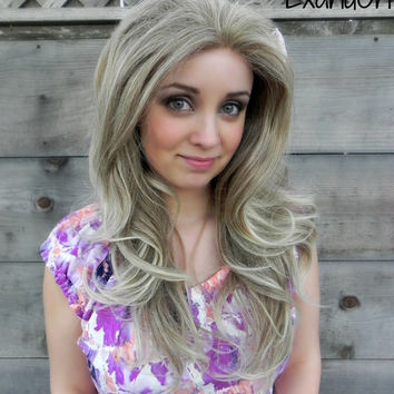 ON SALE // Lace Front Wig, Natural Blonde Hair, Dirty Blond Ash Wig, Long Wavy Natural Hair, Full Body Curly