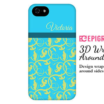 Personalized iPhone 6 case, blue and green flourish, iPhone 5c case, iPhone 6 plus case, iPhone 5s case, iPhone 4s case, galaxy s5 case