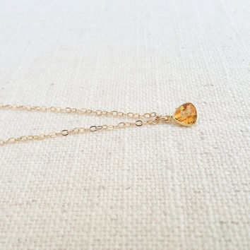 Citrine Necklace, Gold Citrine Necklace, Gold Citrine Triangle Necklace, Citrine Triangle Necklace, Citrine Triangle, Triangle Necklace