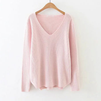 Pink V-Neck Slit Side Sweater