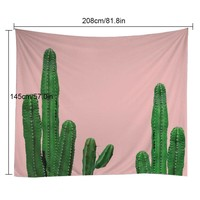 Pink Cactus Hanging Wall Tapestry