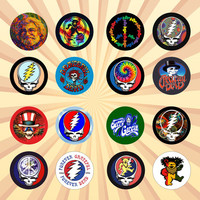 Grateful Dead Set of 16 - 1 Inch Pinback Buttons or Magnets  jerry garcia, steal your face, dead head, music