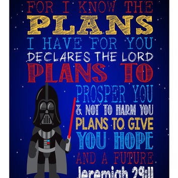 Darth Vader Christian Star Wars Nursery Decor Art Print - For I Know The Plans I Have For You, Jeremiah 29:11 - Available in Multiple Sizes