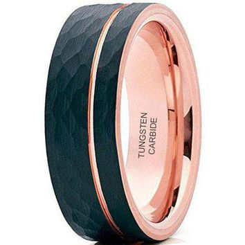 8mm Rose Rold Brushed Black Tungsten Carbide Wedding Ring Hammered Design