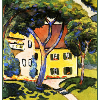 Yellow House in a Landscape by Expressionist Artist August Macke Counted Cross Stitch or Counted Needlepoint Pattern