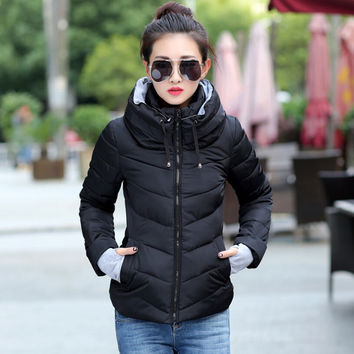 hooded plus size 2016 Korean long sleeve warm light down padded winter jacket women parkas for women winter coat women B143