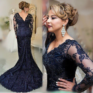Dark Blue Mother of the Bride Dresses V Neck Plus Size Lace 2017 Long Sleeves Mermaid Custom Made Evening Wedding Party Dresses