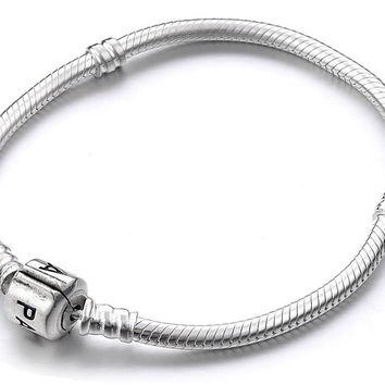 925 Sterling Silver Snake Chain Bracelet for Beads / Charms 17 cm