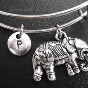 Elephant bracelet, Stainless Steel Expandable Bangle, monogram personalized item No.680