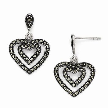 Sterling Silver Marcasite Heart Dangle Post Earrings