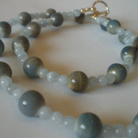 Ocean Breeze Blue Aquamarine Necklace by PhreshThreadz on Etsy