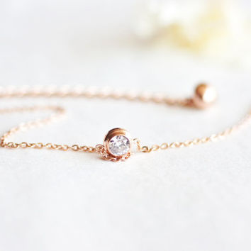 Crystal bracelet or anklet - rose gold titanium