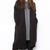 Women's Black Sweater Jacket Coat Casual Loose Fitting One Size