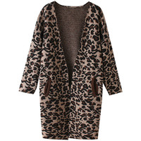 Leopard Print Knitted Cardigan with Pocket