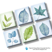 Spring Leaves scrabble tile images 0.75x0.83 inch squares. Two 4x6 inch sheet blue green botanical collage sheet. Digital download