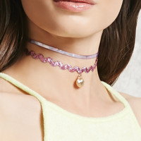 Holographic Ribbon Choker Set