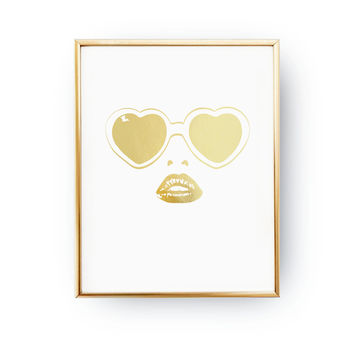 Heart Sunglasses Print, Summer Look, Fashion Poster, Real Gold Foil Print, Wardrobe Art, Fashion Accessories Poster, Home Decor, Big Lips