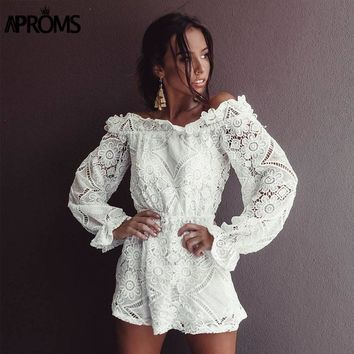 Aprons White Crochet Lace Off Shoulder Jumpsuit Romper Ladies Flare Sleeve Slim Playsuit Summer Overalls for Women Clothing