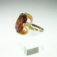 Vintage Topaz Glass Chunky Cocktail Ring