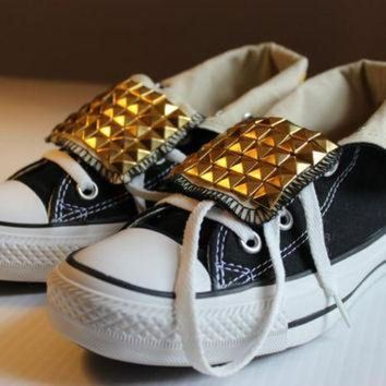 CREYONB Studded Fold-Over Converse All-Star High-Tops Assorted Sizes and Colors - Free US Ship