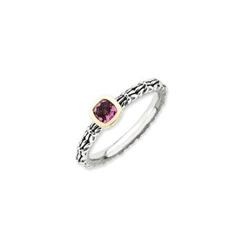 Stackable Sterling Silver & 14K Gold Plated Pink Tourmaline Ring
