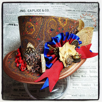 Steampunk mini top hat, Mad hatter, Adventurer, Explorer, Sherlock Holmes, Carnival Hat, Festival Hat, Circus, Warehouse 13, Ringmaster hat