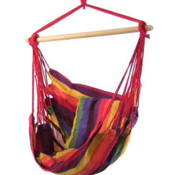 Indoor Outdoor Durable Hanging Hammock Swing Chair in Sunset Color