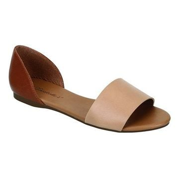 BRIGIT OPEN TOE FLATS - NATURAL