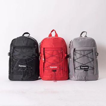 """Supreme"" Unisex Casual Fashion Letter Logo Reflective Backpack Couple Large Capacity Double Shoulder Bag"