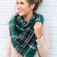 Study Abroad Green Reversible Plaid & Houndstooth Blanket Scarf