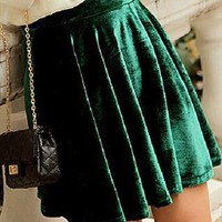Ladies Velvet Skater Skirt GREEN from NaomiShu