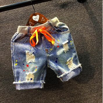 New Boys Denim Shorts Ripped jeans size 234t