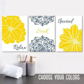 YELLOW Navy BATHROOM Decor, Flower Bathroom Wall Art Canvas or Prints Relax Soak Unwind, Yellow Navy Bathroom Quote Wall Decor, Set of 3