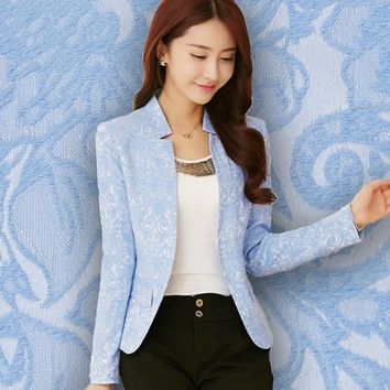 2017 New Spring Clothes Collar Suit Jacket Slim Female Temperament Design Coat Casual Women Work Wear Clothes Candy Color Black