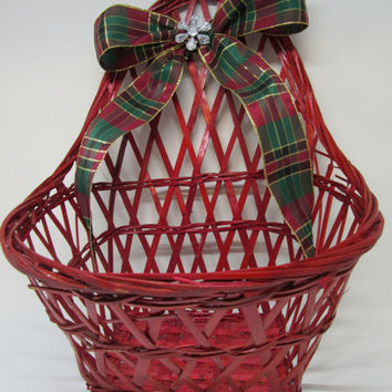 Unique Red Woven Wall Basket-Red, Green, Gold Plaid Bow-Crystal Flower Accent-Holiday Decor-Card Holder-Pine Cone Holder-Gift-Home Decor-