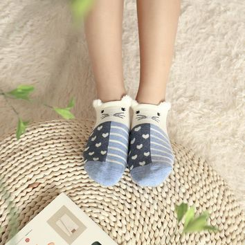 5 pairs/lot Fashion Women Socks Animal 3D Ear Cute Invisible Socks Cats Bunny Cartoon Women Sock Slippers