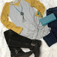 Knot For Now Striped Long Sleeve Top: Mustard