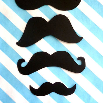 mustaches moustaches (100 pcs) Variety Pack - 3 inch - 2 inch - 1.5 inch black die cut staches mustashe bash photo prop gender reveal