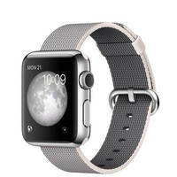 Apple Watch - 38mm Stainless Steel Case with Pearl Woven Nylon