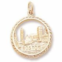 Boston Skyline Charm in Yellow Gold Plated