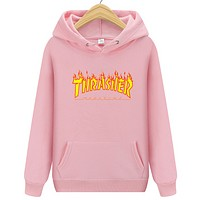 Thrasher New fashion flame letter print hooded long sleeve sweater Pink