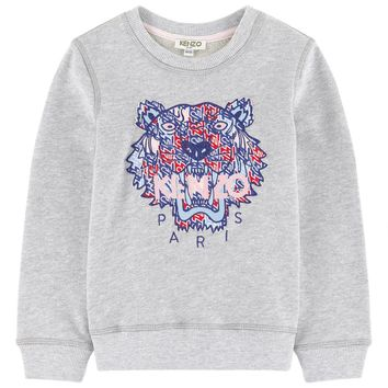 Kenzo Girls Grey Tiger Logo Sweatshirt
