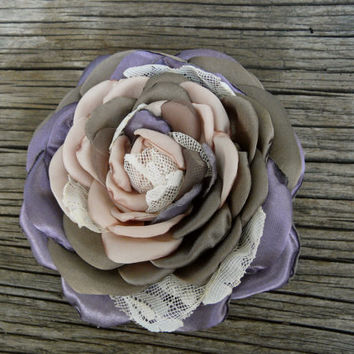 Pastel Hair Flower, Silk Flower Pin, Pastel Hair Accessory, Satin Flower Hair Clip, Bridesmaid Flower Brooch