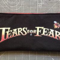 TEARS FOR FEARS - Upcycled Concert/ Band T-shirt Makeup/ Pencil Pouch - ooak